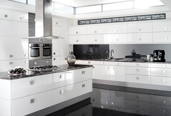 grey and white high gloss kitchens - google search | design
