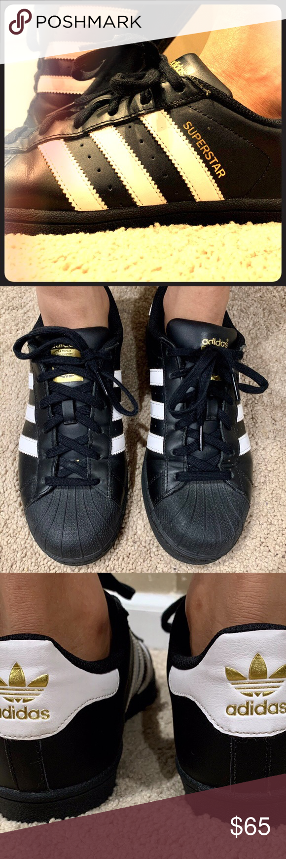 Adidas superstar black white and gold 65 Adidas superstar