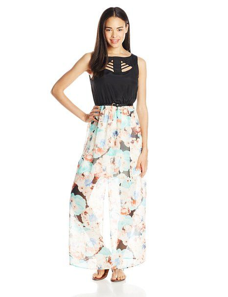 As U Wish Junior's Sleeveless Maxi Dress with Printed Skirt, Black/Mint, Large