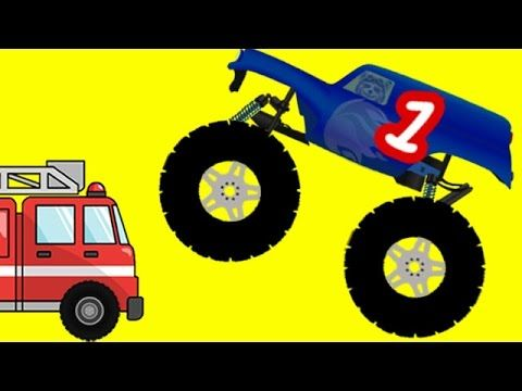 Monster Trucks Teach English Numbers To Toddlers With Cars Kids Learn English Or Esl Monster Trucks Truck Videos For Kids Vintage Truck Nursery