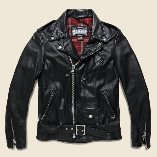 Schott Lightweight Fitted Cowhide Motorcycle Jacket Black Chaqueta De Cuero Chaqueta De Piel Ropa
