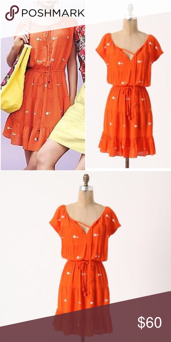 Anthropologie Mirror Dots Dress By Leifnotes Orange 100 Rayon With And Embroidery Detail Made In India Excellent Pre Owned Condition