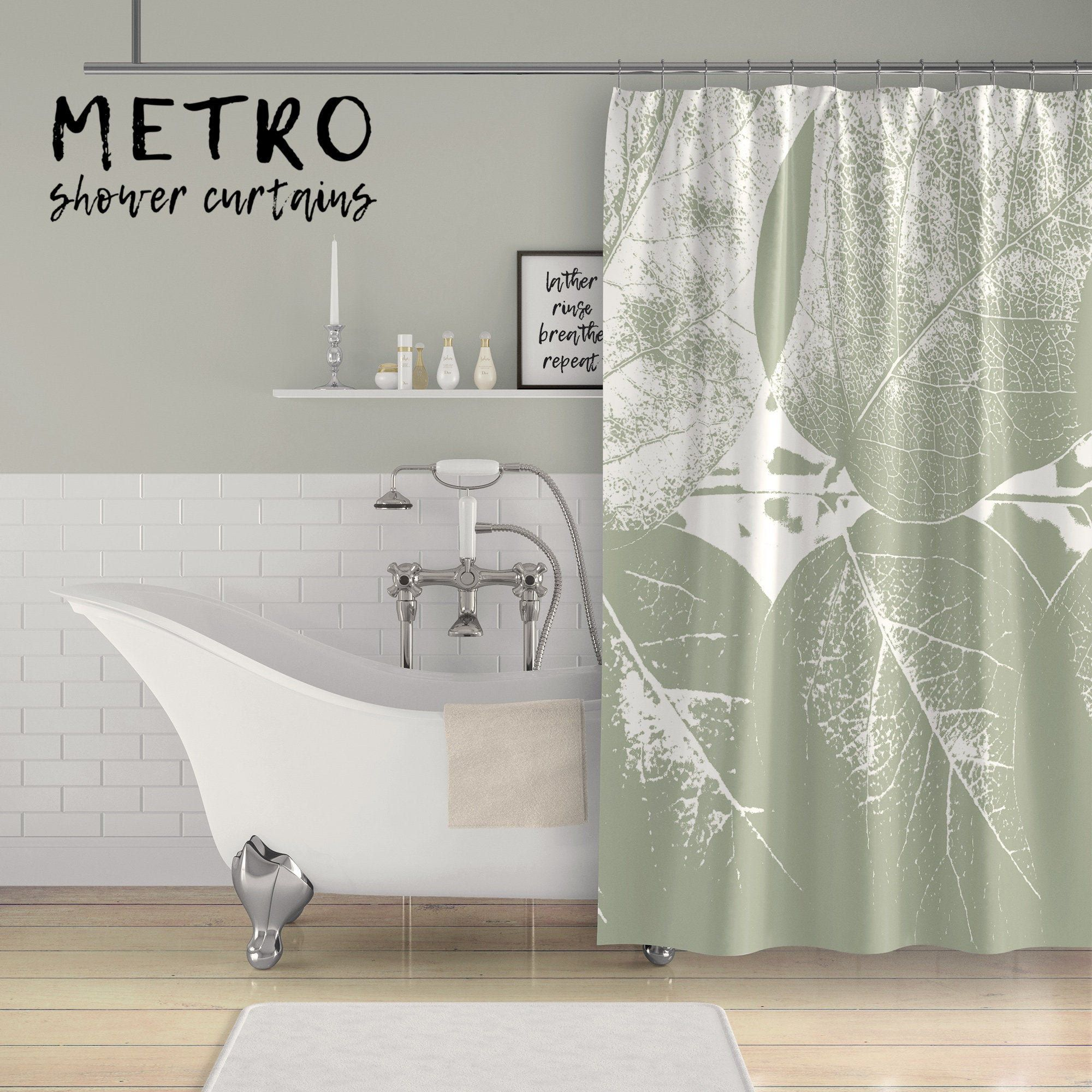 Sage Green Leaves Monchromatic Print Shower Curtain Green