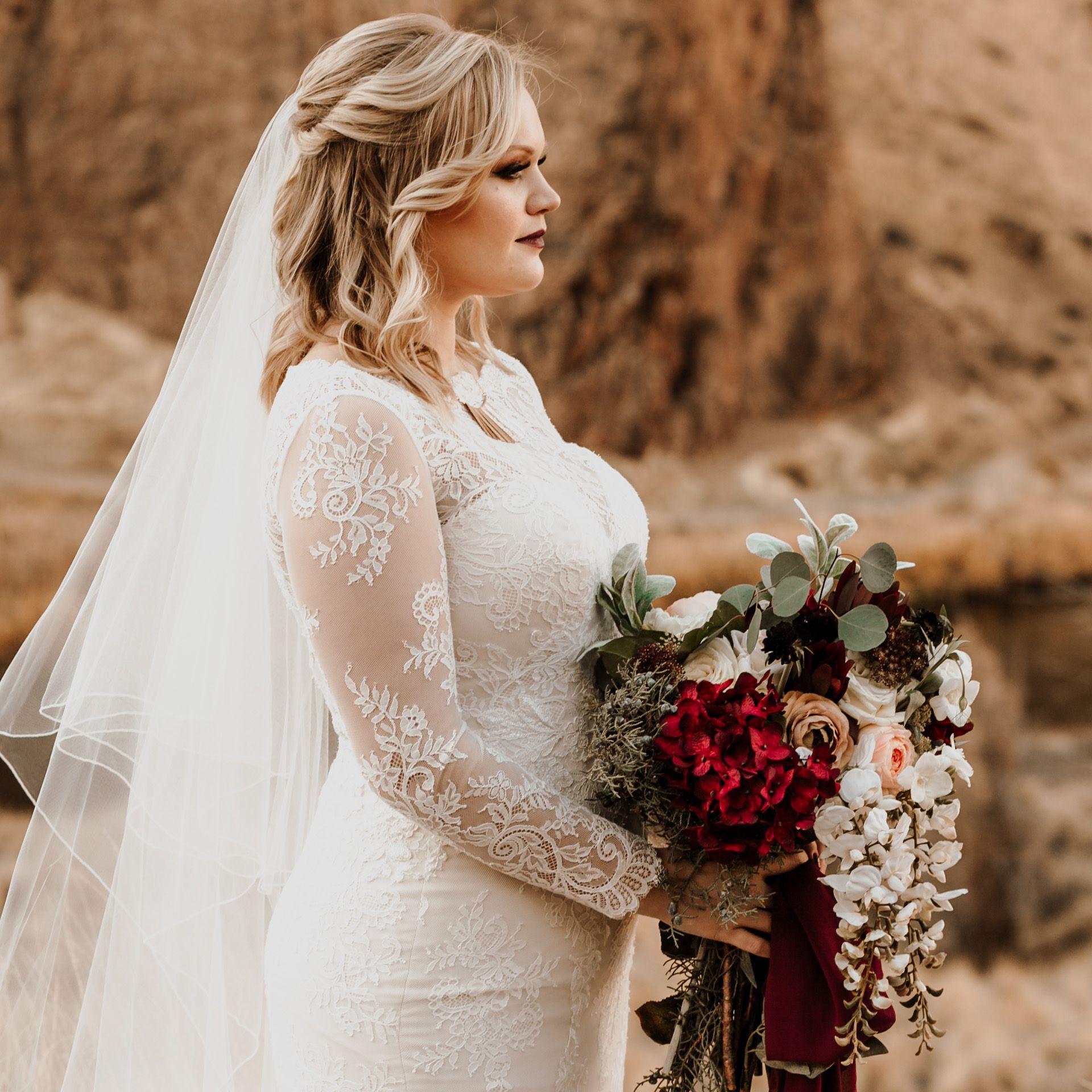 Long Sleeve Lace Wedding Dress Dark Moody Floral Bouquet