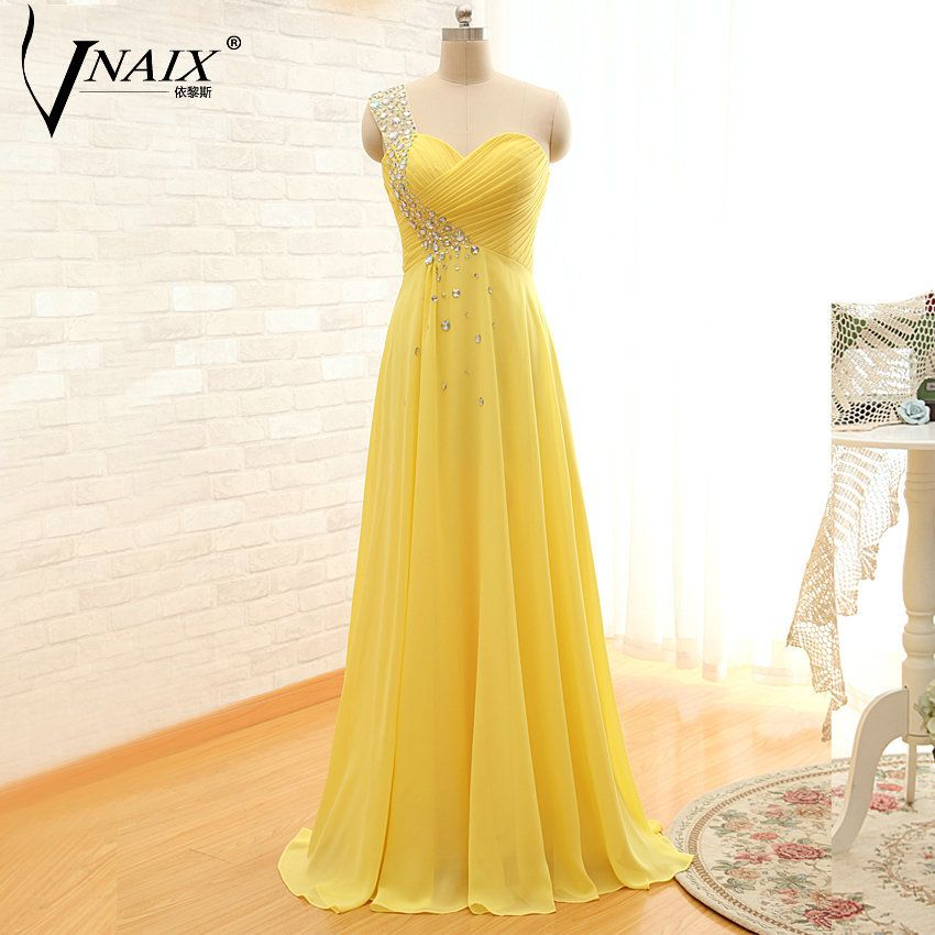 Vnaix ES05 Real Images Sweetheart One Shoulder Floor Length Turquoise Champagne Long Chiffon Crystal Formal Evening Dresses 2014