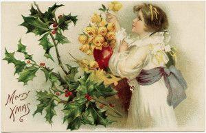 Free Vintage Christmas Postcard Image ~ Girl Admiring Yellow Roses