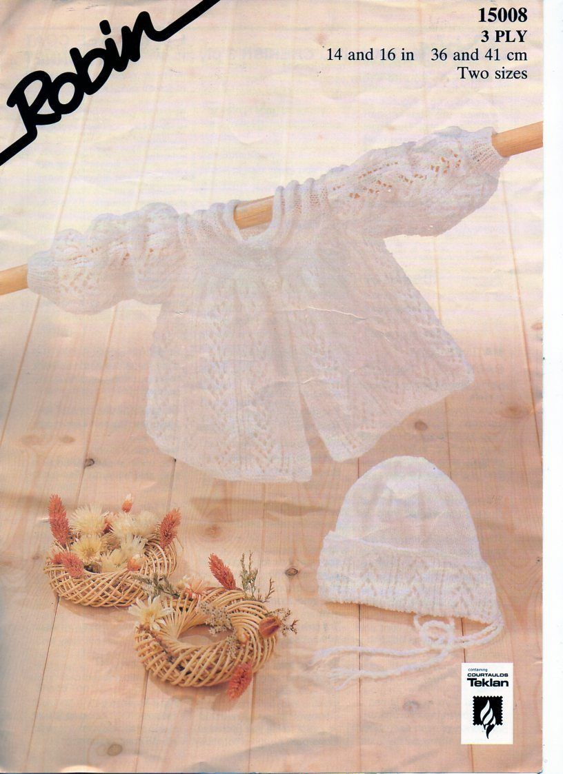 14787de363b5 Baby matinee coat bonnet knitting pattern pdf matinee jacket hat 14 ...