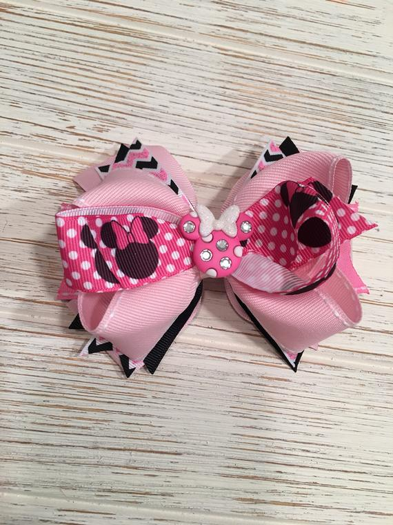 Minnie Mouse Hair Bow with Sequin Minnie Mouse Alligator Clip White Ribbon
