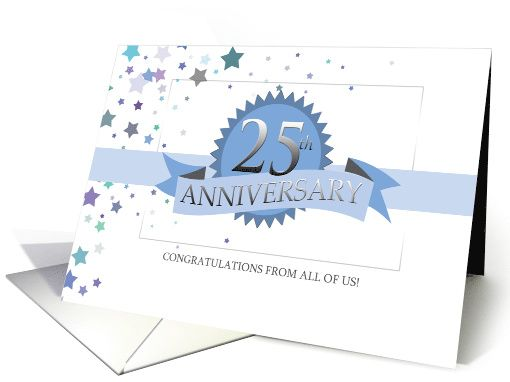 25th Business Anniversary Ribbon Award Stars Card With Images