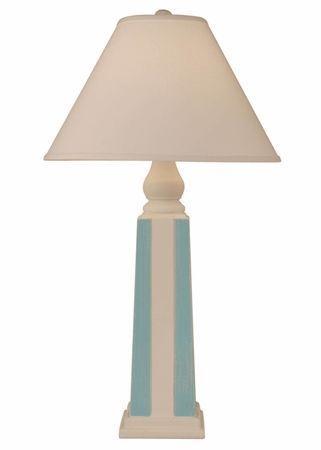 Pyramid Stripe Pot Lamp In Ivory Turquoise Diy House Beautiful Coastal Decorating Coastal Furniture Coastal Lighting
