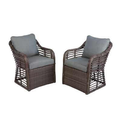 Hampton Bay Cane Crossing All Weather Wicker Patio Chat Chairs With Spa  Cushions (2 Pack)