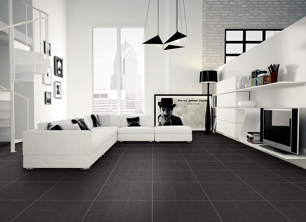 Only 19 M2 Fabric Black Rectified Italian Porcelain Tile
