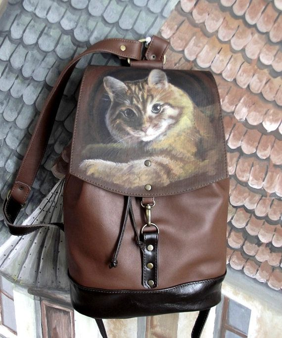 Pet portrait painted leather backpack Shoulder Bag Personalized ...