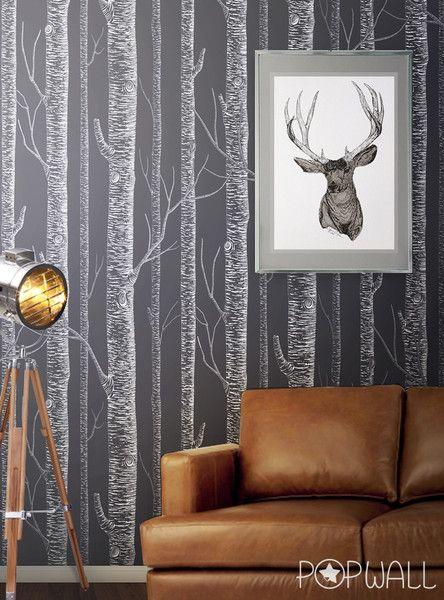 Weiße Birke Peel  Stick Removable Tapete Tree wall, Wall sticker - tapeten wohnzimmer