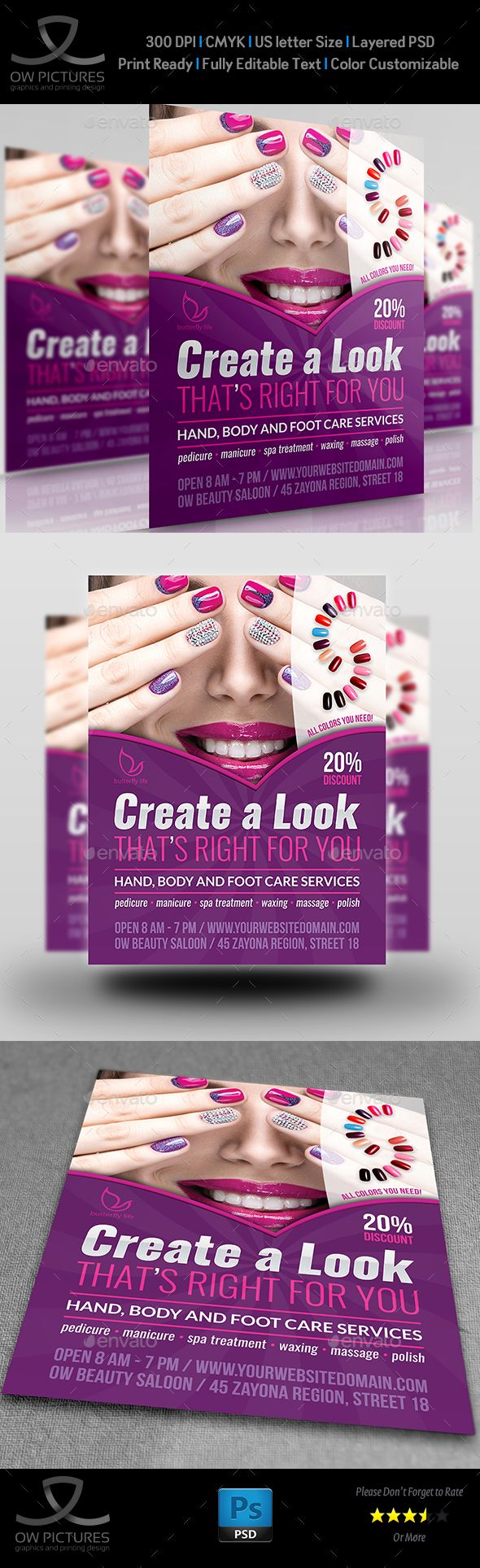 Nails Salon Flyer Template - Commerce Flyer Template PSD. Download here: http://graphicriver.net/item/nails-salon-flyer-template/16532976?ref=yinkira