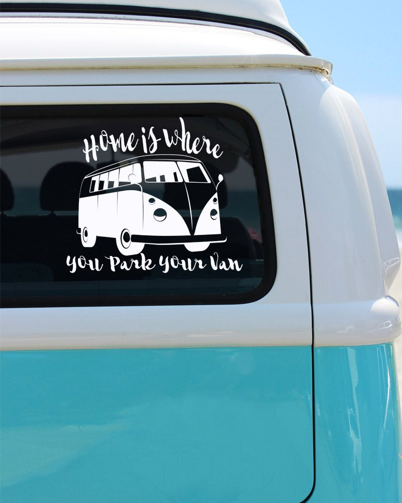 Van Vinyl Window Decal Cat Sticker Car Decal Home Is Where - Cat custom vinyl decals for car windows