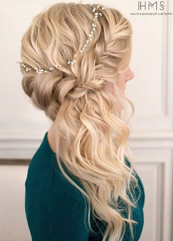 This Look Is Ideal For A Backless Dress You 8217 Ll Get The Best Of Both Worlds You Can Show Off The Braided Prom Hair Elegant Wedding Hair Side Hairstyles
