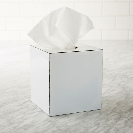 Enamel Iron Tissue Box, White