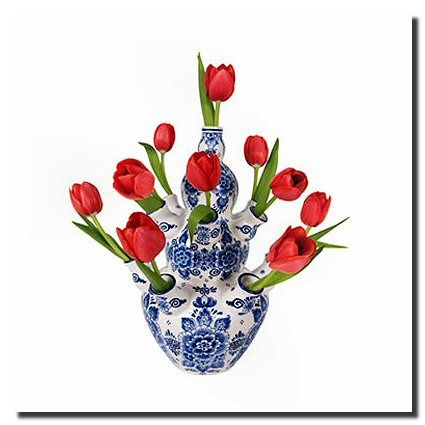 Delft Blue And White Tulip Vase Tulips In Vase Red