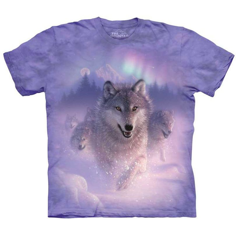 NORTHERN LIGHTS Wolf T-Shirt The Mountain Aurora Wolves Wolfpack Size S-5XL NEW! #northernlights #wolf #wolves #wolfpack