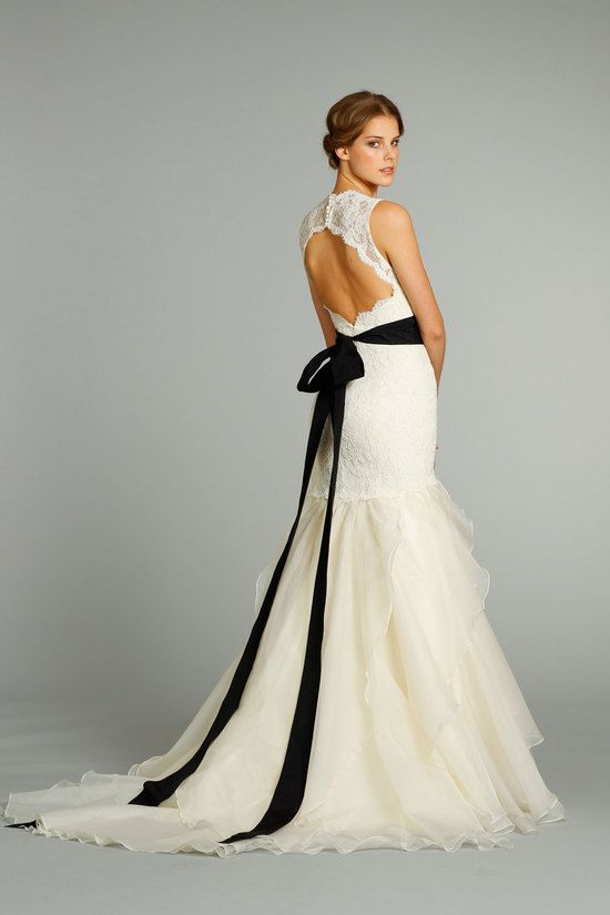 Open Backed Wedding Gown With A Black Sash From Jim Hjelm Amazing