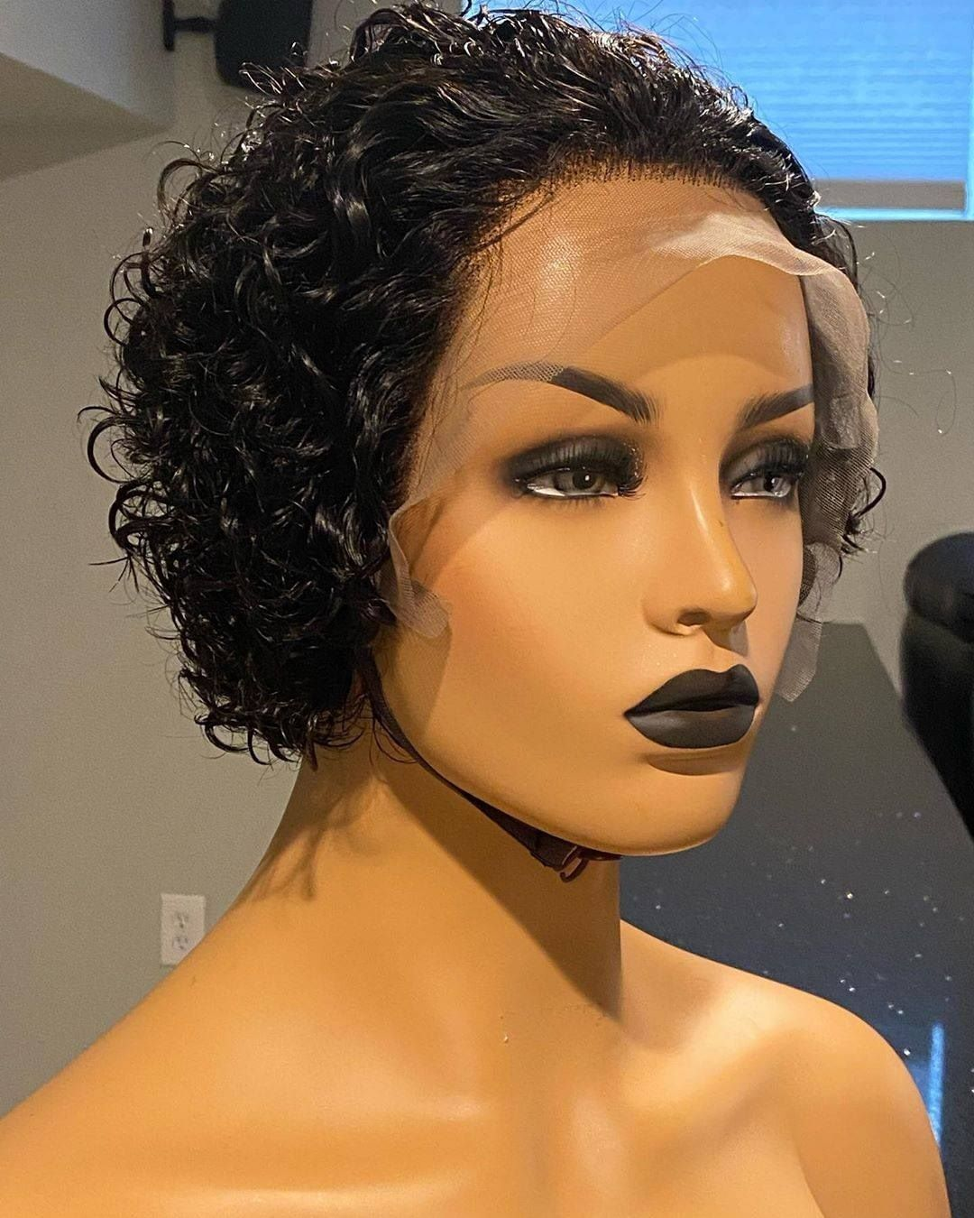 Short Curly Bob 100 Human Hair Frontal Lace Wig in 2020