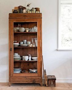 Vintage Wood Cabinet With Dishware Displayed Sfgirlbybay