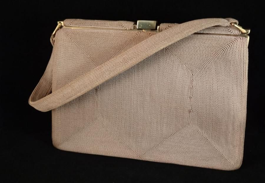 Beautiful Vintage 1940s Cordehandbag 45 By Allthatvintage 1940 S Taupe Corde Handbag Condition Fully Lined In Satin With 2 Slip