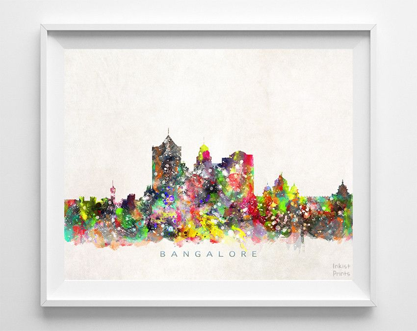 Bangalore India Skyline Watercolor Print Decoration