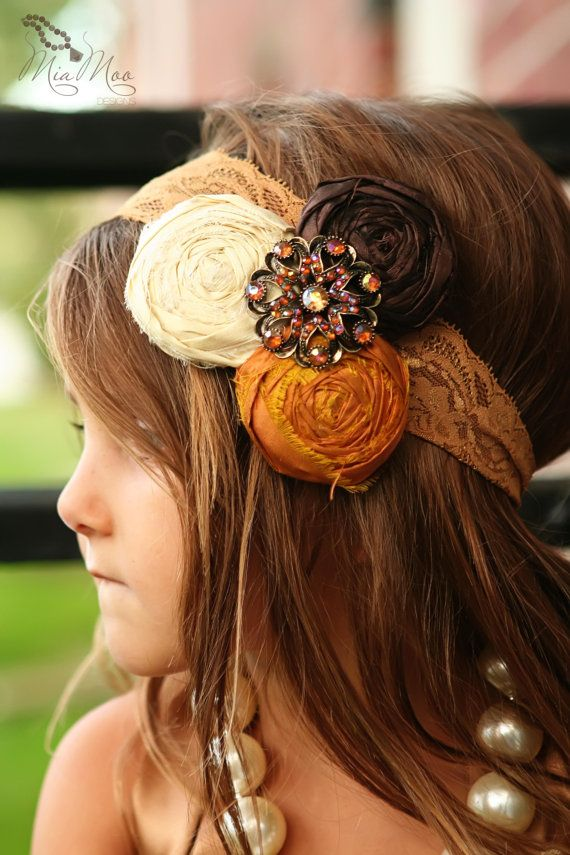 Hello Fall Silk Rolled Rose Headband with vintage by rubyblueinc, $22.00