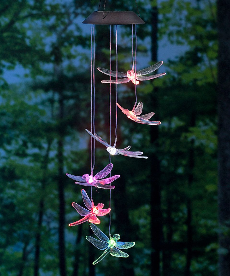 Loving This Dragonfly Solar Mobile On Zulily Zulilyfinds Solar Powered Led Lights Solar Wind Chimes Solar Led Lights