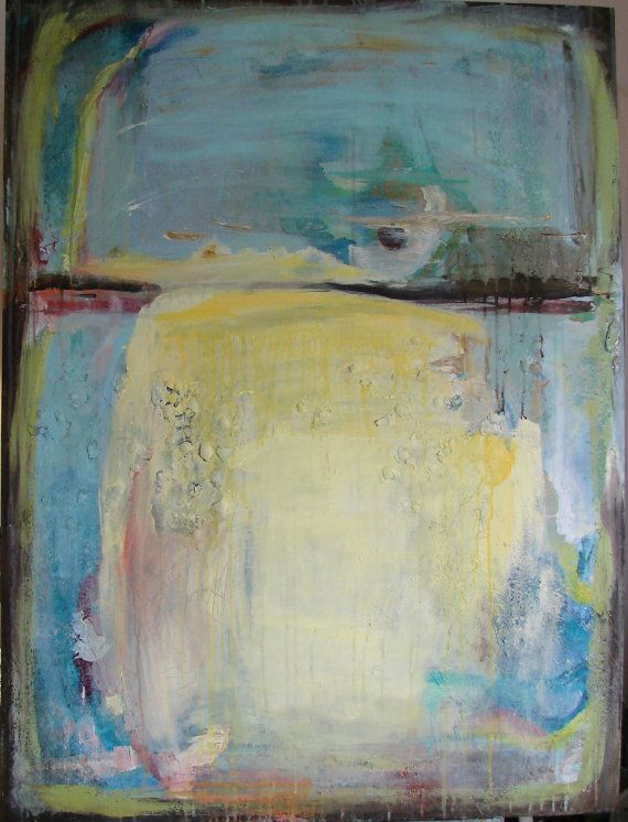 Large Original Abstract Painting blue yellow by cherylwasilowart, $799.00 LOVE THIS PIECE!