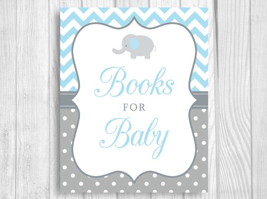 Books for baby 5x7 8x10 printable elephant boys baby