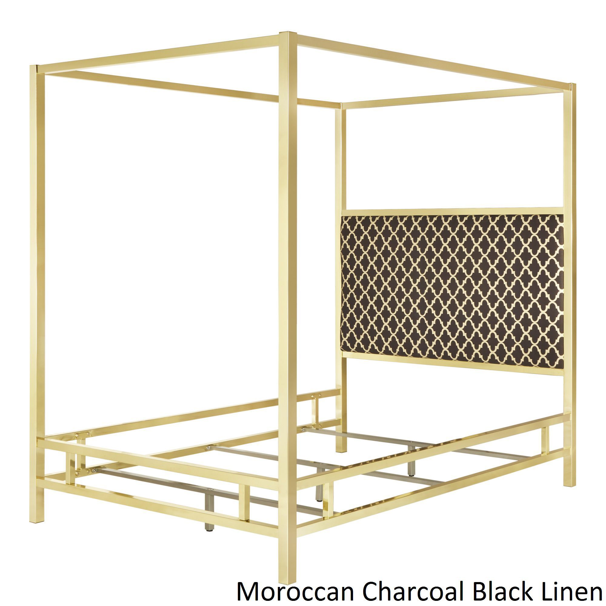 Solivita Queen-size Canopy Gold Metal Poster Bed by iNSPIRE Q Bold (Moroccan  Charcoal Black Linen)