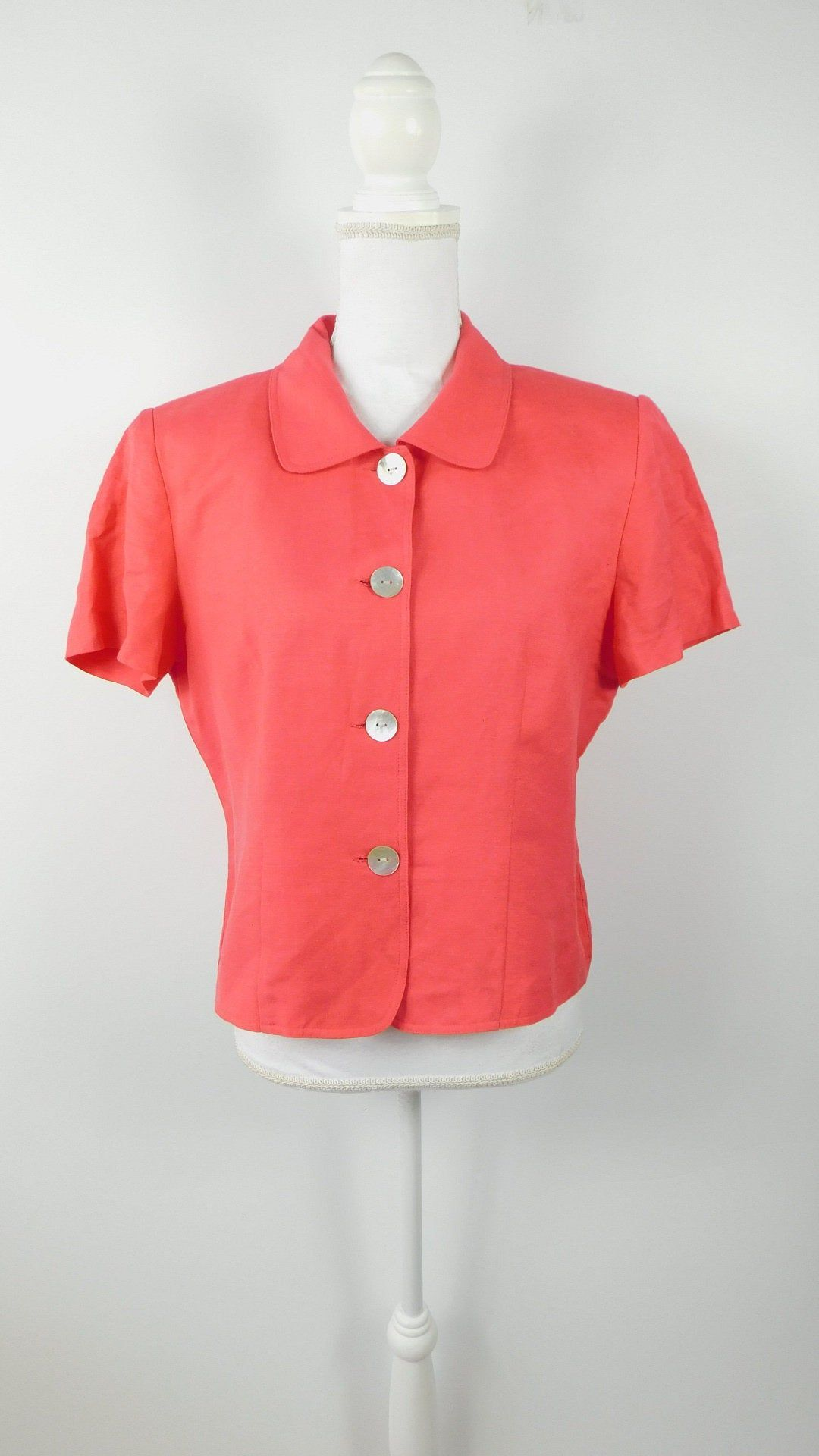Vintage 80s Jessica Howard Coral Pink Linen Spring Minimal Button Up Collared Short Sleeve