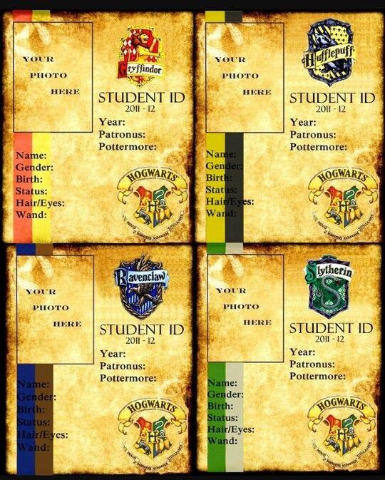 Harry Potter Hogwarts Student Ids Slytherin Hufflepuff Ravenclaw Griffindor Harry Potter School Harry Potter Bday Harry Potter Spells
