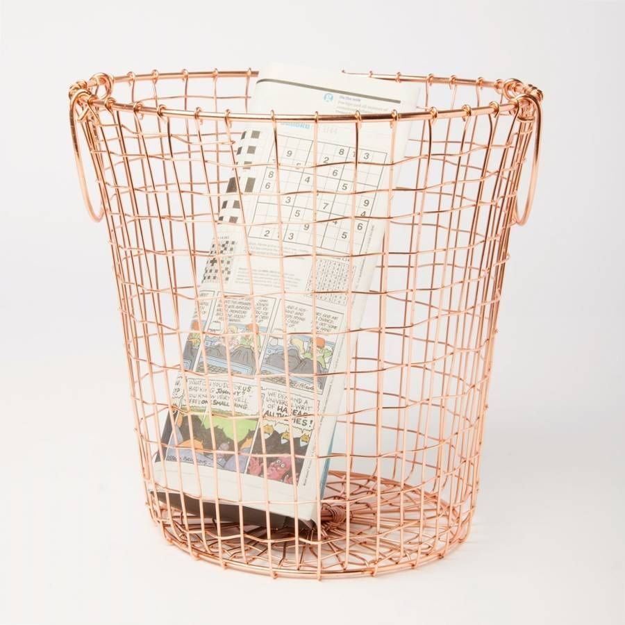 Wire Waste Paper Basket copper waste paper bin | iron, bedrooms and master bedroom