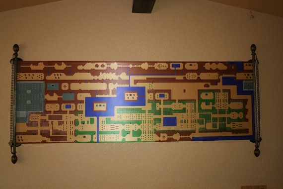 HUGE 8 Foot Long ZELDA Inspired Map Wall Mural for by Packmania, $39.99