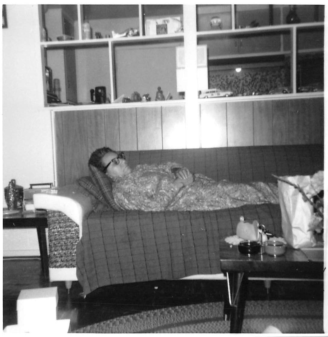 Photograph Snapshot Vintage Black And White Elderly Woman Sleeping Couch  1960'S | EBay