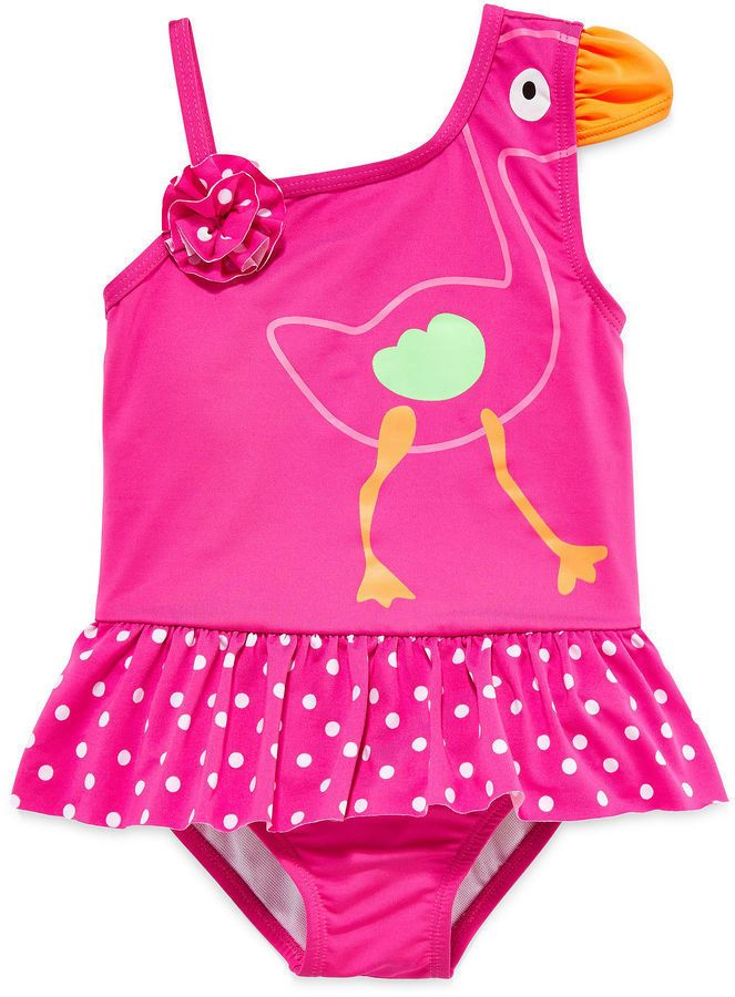 3b3b3b4fc Baby Buns Girls Swimsuit One Piece Flamingo SPF 50 Toddler size 3T ...