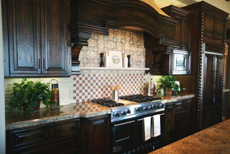 Dark Wood Kitchen Backsplash painted wood kitchen cabinets med brown with black glaze | for the