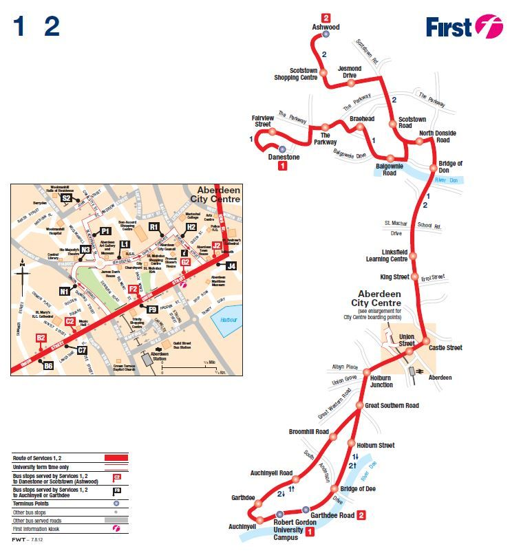 The number 1 and 2 bus gets you to campus here is a map and click