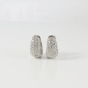 Roberto Coin 18K White Gold 1.51tcw Diamond Huggie Earrings