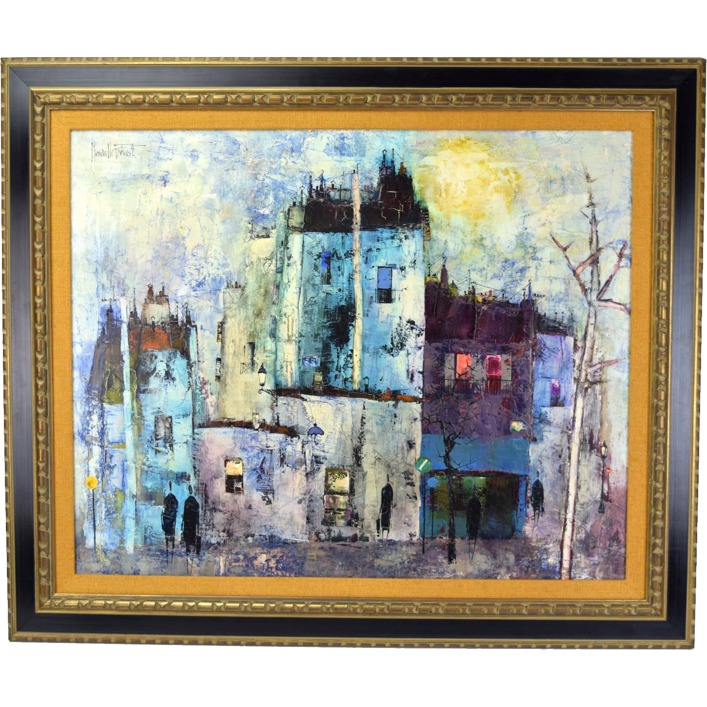 Vintage French Mid Century Oil Painting Abstract Street Scene Maurille Prevost Oil Painting Abstract Painting Oil Painting