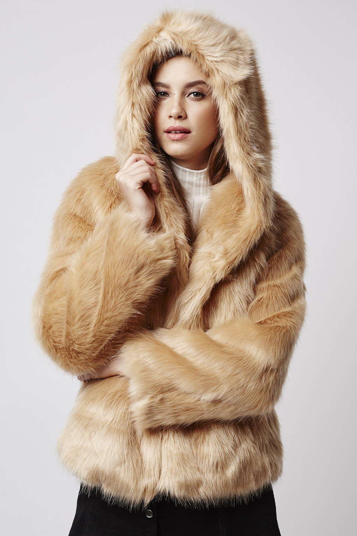 b78d51d978 Luxe Faux Fur Hooded Coat - Topshop | chaquetas y algo más | Fox fur ...