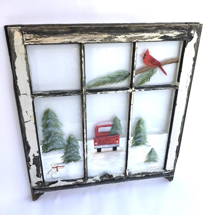 Red Truck Painted Window, Winter Scene Window, Red Truck Decor, Old Painted Window