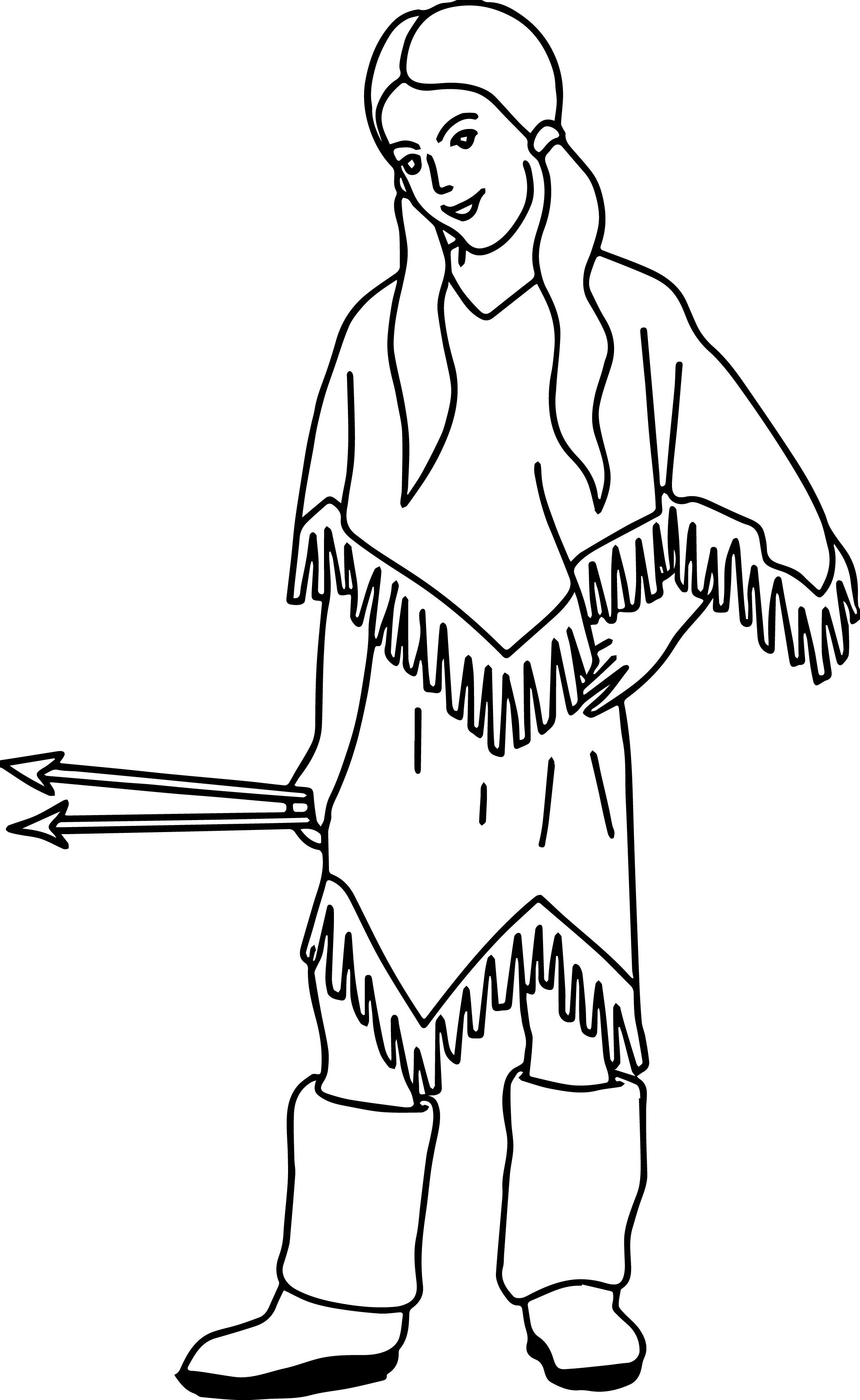 Cool Native American Indian Arrow Girl Coloring Page Coloring