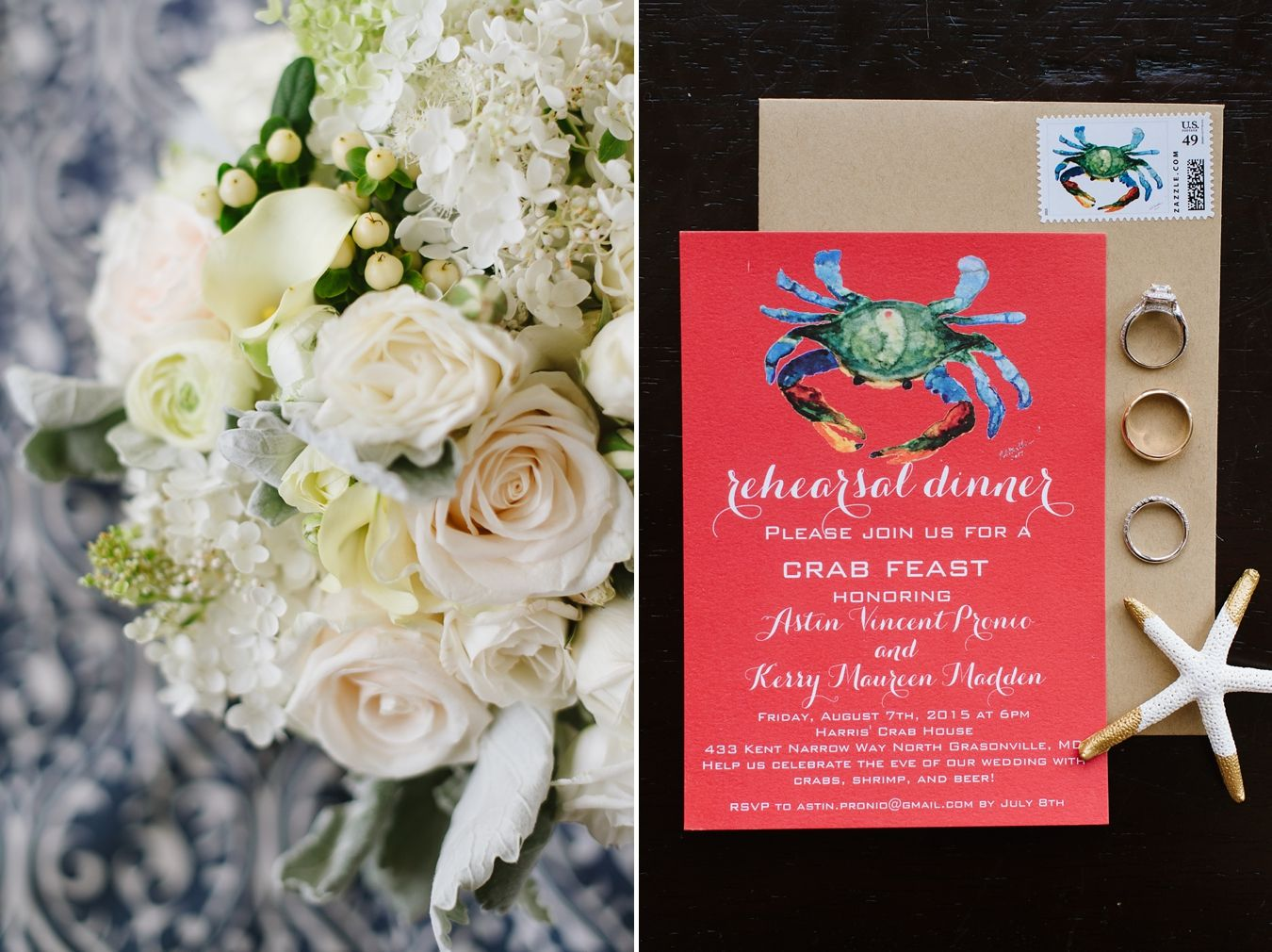 Crab Rehearsal Dinner Invitation for Maryland Wedding Inspiration ...