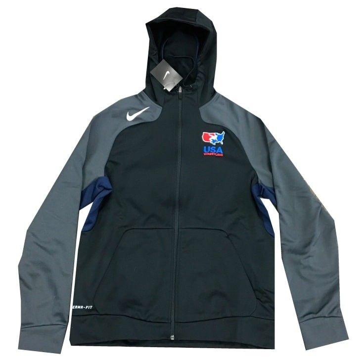 2672b5be Nike USA Wrestling Full Zip Hooded Jacket (Black) | USA Wrestling ...