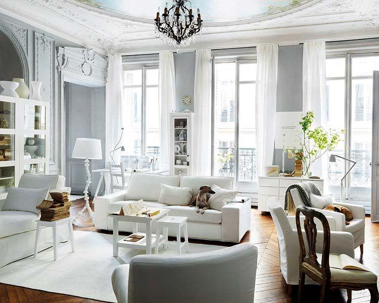 Grey Walls White Trim Living Room Chic